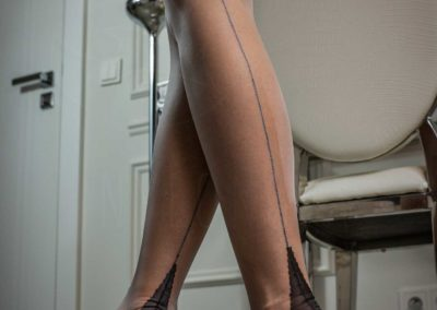 Mrs NyloNova wearing contrast seam Secrets In Lace nylon stockings