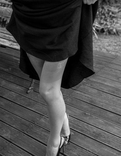 Mrs NyloNova wearing vintage Veitel stockings and Pleaser Mules