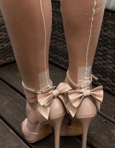Mrs NyloNova wearing Ivory colour cuban heel nylon stockings